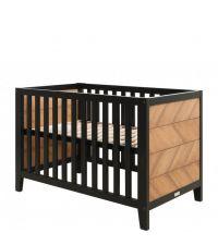 Babybett aus schwarzem Holz & Kiefer mit Fischgrätmuster, Gitterbett mit höhenverstellbarem Lattenrost, 60 x 120 cm