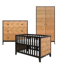 Babyzimmer-Set Babybett, Kommode & Kleiderschrank aus schwarzem Holz & Kiefer mit Fischgrätmuster