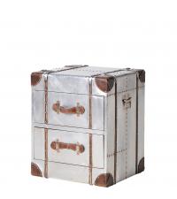 metallische Kofferkommode Nachtkästchen silber mit zwei Laden Griffe aus braunem Leder