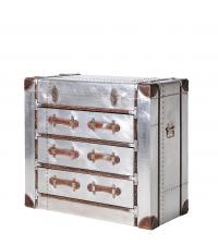 metallische Kofferkommode silber mit drei Laden Griffe aus braunem Leder