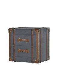 graue Stoff-Kofferkommode mit Lederbesätzen und zwei Laden
