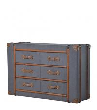 graue Stoff-Kofferkommode mit Lederbesätzen und 6 Laden