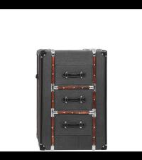 kleine Kofferkommode Koffer-Nachtkästchen mit grauem Stoffbezug