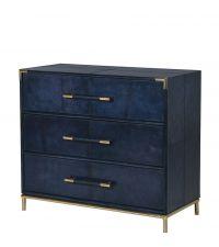 dunkelblaue Kommode im Koffer-Stil aus Stahl mit goldenen Details und drei Schubladen