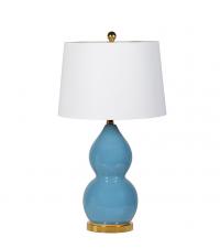 Tischlampe mit Kermamikfuß in frischem Blau und weißem Lampenschirm