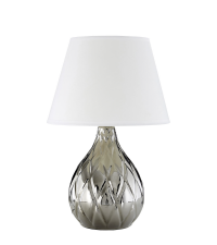 Tischleuchte aus silber glänzendem Keramik mit weißem Schirm