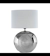 Tischlampe mit Keramikfuß in glänzendem Silber mit weißem Schirm