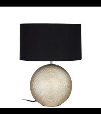 Keramik-Tischleuchte mit goldenem Fuß und schwarzem Schirm