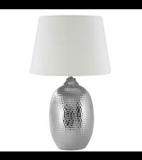 Tischleuchte mit silbernem Fuß in Hammerschlag-Optik, Lampenschirm weiß