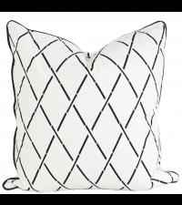 Kissenhülle aus Baumwolle mit geometrischem Muster, schwarz & weiß