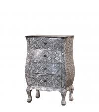 kleine orientalische Kommode oder Nachtkästchen silber & schwarz