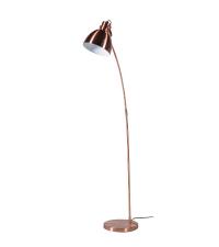 kleine, schlichte Stehlampe in schimmerndem Kupfer