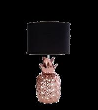 kleine Tischlampe mit schimmerndem Ananas Fuß aus Keramik, kupfer & schwarz