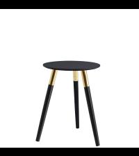 gekreuzter beistelltisch mit goldrahmen und schwarzem glas. Black Bedroom Furniture Sets. Home Design Ideas