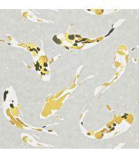 fancy Vliestapete, reflektierend silber & gelb, Tapete Koi metallisch silber