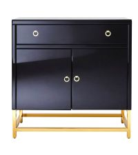 Moderne Kommode mit schwarzem Glas und goldenen Füßen