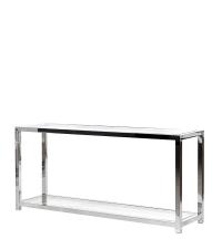 moderne Konsole aus Metall mit klaren Glasplatten