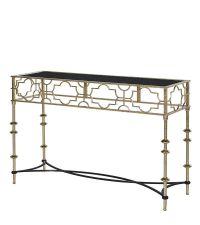 Konsole mit schwarzer Glasplatte und goldenem Rahmen mit geometrischem Muster