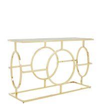 luxuriöse, große Konsole mit zartem goldenen Metallrahmen mit Lochmuster & Tischplatte aus gehärtetem Glas