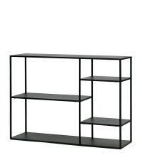 minimalistisches Regal oder Konsole aus schwarzem Metall, modernes Bücherregal