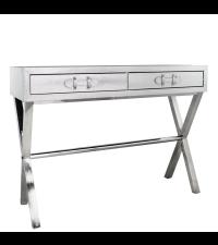 silberner Konsolentisch oder Schreibtisch in Schlangenleder-Optik