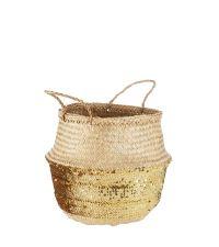 runder Aufbewahrungskorb mit Henkeln & breiter Einfassung mit goldenen Pailletten, mittel