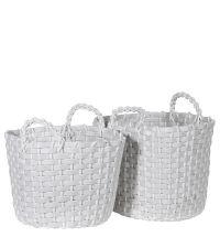 zwei weiße Körbe, Aufbewahrungskörbe mit Henkeln aus  recyceltem Poly-Kunststoff