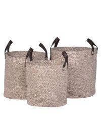 3er-Set Körbe aus Baumwollseil mit Griffen aus braunem Kunstleder