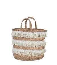 Korb im Boho-Style aus Wasserhyazinthen mit naturfarbenen Fransen