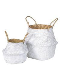 2er-Set Körbe aus Seegras in weiß & naturfarben mit Griffen