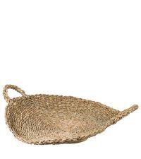 großes, rundes Korb-Tablett aus Seegras, naturfarben