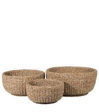 3er-Set Körbe aus Seegras, naturfarben