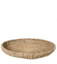 großer runder Teller, Korb-Tablett aus Seegras, naturfarben
