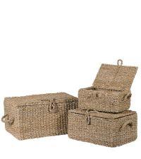 Boxen-Set mit Griffen aus Seegras, naturfarben