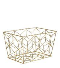 geometrisch geformter Aufbewahrungskorb aus goldenem Eisendraht