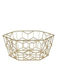flacher, geometrisch geformter Aufbewahrungskorb oder Obstkorb aus goldenem Eisendraht