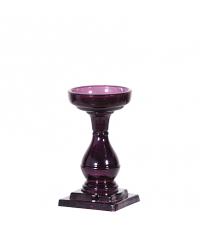 kleiner bauchiger Kerzenständer aus Glas violett getönt