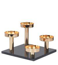 4-teiliger Kerzenständer, moderner Adventskranz in Gold auf schwarzer Marmorplatte