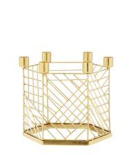 moderner Kerzenständer für 6 Kerzen aus goldenem Metall mit Verstrebungen