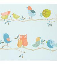 bunte Kindertapete mit Vögelchen, blau