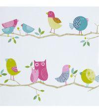 bunte Kindertapete mit Vögelchen, rosa