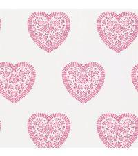 Tapete mit rosa Herzen auf weißem Grund