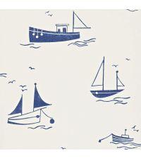 klassische Kindertapete, Tapete mit Segelschiffen, navy / blau