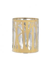 großes Windlicht mit goldenem Metallrahmen und Glaseinsatz