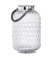 große Laterne aus Glas mit feinem silbernen Kordel-Henkel