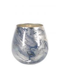 Windlicht mit Farbverlauf in marmorierter Optik, blau & gold