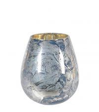 großes Windlicht mit Farbverlauf in marmorierter Optik, blau & gold