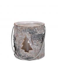 kleine Holzlaterne aus Baumrinde mit Tannenbaum-Lochmuster & Glaseinsatz
