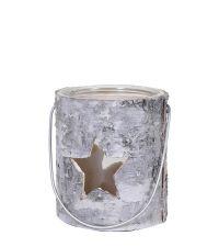 kleine Holzlaterne aus Baumrinde mit Stern-Lochmuster & Glaseinsatz