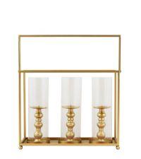 Laterne mit drei goldenen Kerzenständern aus goldenem Metall